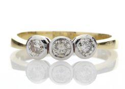 18ct Three Stone Claw Set Diamond Ring H SI 0.75 Carats