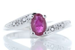 9ct White Gold Diamond And Ruby Ring 0.01 Carats