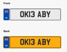 OK13 ABY. Private vehicle registration number plate, ready to transfer to new owner