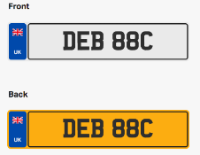 DEB 88C. Private vehicle registration number plate, ready to transfer to new owner