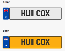 HU11 COX. Private vehicle registration number plate, ready to transfer to new owner