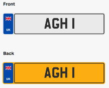 AGH 1. Private vehicle registration number plate, ready to transfer to new owner