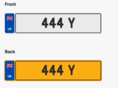 444 Y. Private vehicle registration number plate, ready to transfer to new owner