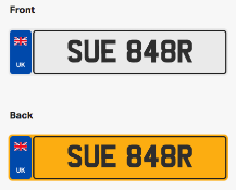 SUE 848R. Private vehicle registration number plate, ready to transfer to new owner