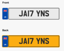 JA17YNS. Private vehicle registration number plate, ready to transfer to new owner