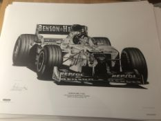 Alan Stammers Signed Limited Edition Print of Damon Hill