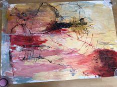 "Pair of Jukka Sohonen Original Paintings ""The dog has the same journey"" & ""The flesh wall"""