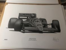 Alan Stammers Signed Limited Edition Print of Ayrton Senna