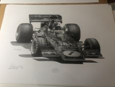 Alan Stammers Signed Limited Edition Print of Emerson Fittipaldi