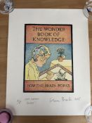 """Glen Baxter Artist Proof """"The Wonder Book Of Knowledge, How The Brain Works"""" Signed"""