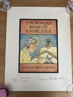 "Glen Baxter Artist Proof ""The Wonder Book Of Knowledge, How The Brain Works"" Signed"