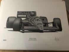 Alan Stammers signed print Ayrton Senna