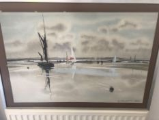 Original Painting by Jas.E.Wadsworth, The Swale 1980.