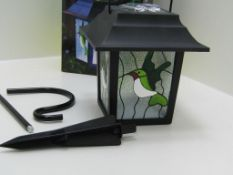 6 x Solar powered humming bird stained glass lantern. LED. Garden Light no vat on hammer.You will