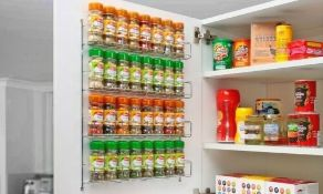 13 x Single Tier Chrome Spice Rack Kitchen Storage. Fix to Cabinet Door. no vat on hammer.You will