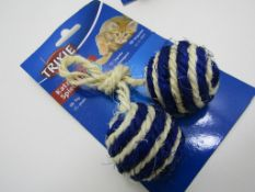20 x Trixie Cat Toy. Double Balls. Rattle Scratch Rope. no vat on hammer.You will get 20 of these in