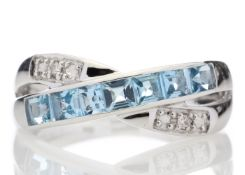 9ct White Gold Blue Topaz And Diamond Ring 0.06 Carats