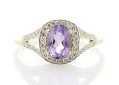9ct Yellow Gold Amethyst And Diamond Halo Set Ring 0.21 Carats