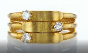 14 kt. yellow gold - ring diamond