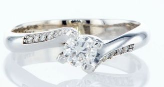 14 kt. white gold - ring - 0.30 ct diamond - diamonds