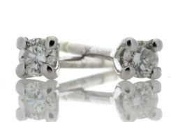 18ct White Gold Single Stone Wire Set Diamond Earring 0.50 Carats