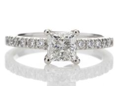 Platinum Single Stone Claw Set With Stone Set Shoulders Diamond Ring (0.71) 0.91 Carats