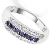 925 Sterling Silver 7 Stone Sapphire & Diamond Ring