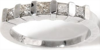 14Ct White Gold 5 Stone Diamond Half Hoop Ring