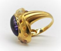 18ct YELLOW GOLD AMETHYST, CITRINE & DIAMOND RING