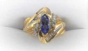 14Ct Yellow Gold Diamond & Tanzanite 'S'shaped Ring