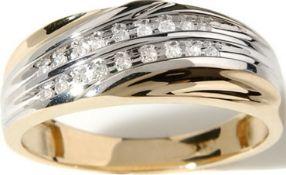 Gents 2 Row Diamond Crossover Ring