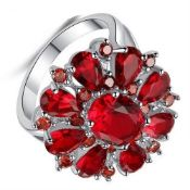 Silver Ruby Cluster Ring
