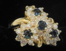 14ct YELLOW GOLD 4 PIECE SAPPHIRE & DIAMOND RING SET