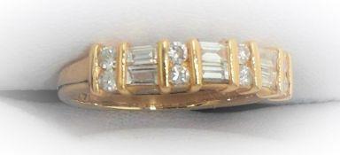 6 Stone Baguette Diamond Half Hoop Ring