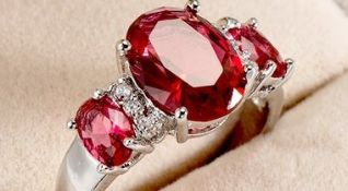 SILVER 3 STONE RUBY RING