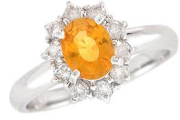 Yellow Sapphire & Diamond Cluster Ring