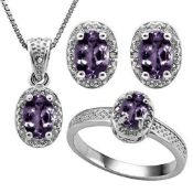 Silver Diamond & African Amethyst Jewellery Set