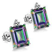10K White Gold Diamond & Mystic Rainbow Amethyst Earrings