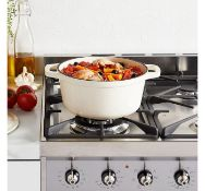 (X23) Cream 3.8L Cast Iron Casserole Dish. Made from hard-wearing cast iron for outstanding dur...