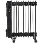 (S80) 11 Fin 2500W Oil Filled Radiator - Black 2500W radiator with 11 oil-filled fins for heat...