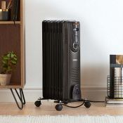 (NN13) 7 Fin 1500W Oil Filled Radiator - Black Powerful 1500W radiator with 7 oil-filled fins ...