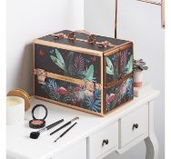 (K25) Large Jungle Print Makeup Case Beautiful jungle design and soft velvet lining Large 3 t...