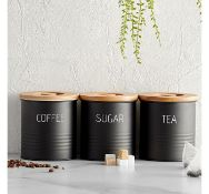 (X37) 3pc Canister Set with Bamboo Lids, Each lid features a silicone seal to provide an airtig...