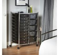 (K2) Black 15 Drawer Trolley Multi-purpose 15 drawer storage trolley Perfect for homes, offi...