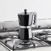 (NN118) 6 Cup Black Espresso Maker Authentic Espresso – enjoy delicious Italian-style espres...