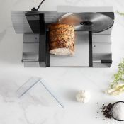 (S94) Stainless Steel Meat Slicer Slice meat, cheese and bread smoothly and safely with this h...