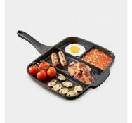 (X44) Multi Section Frying Pan. Four sections means you can cook multiple foods simultaneously ...