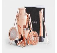 (X16) Rose Gold Parisian Cocktail Set. Set includes a muddler, double-ended bar spoon/ fork, Ha...