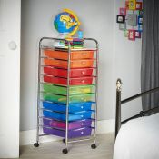 (V84) 10 Drawer Trolley - Multi Colour Versatile 10 drawer storage trolley - great for homes, ...
