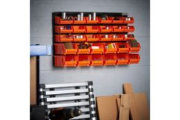 S417) 30pc Storage Bin Organiser Versatile 30 bin storage solution for workshops, garages and s...